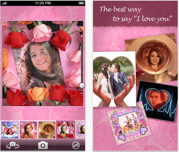 create beautifully framed photos romantic photo montages and valentines directly when taking photos with your iphone just choose a frame or a montage
