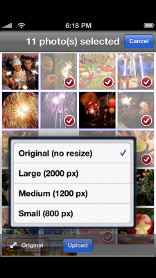 Selecting uploading size in Share.Pho.to app for iOS