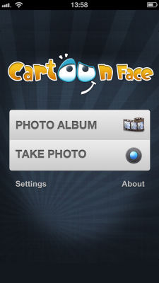Cartoon Face app for iOS - choose photo from albums of from Camera
