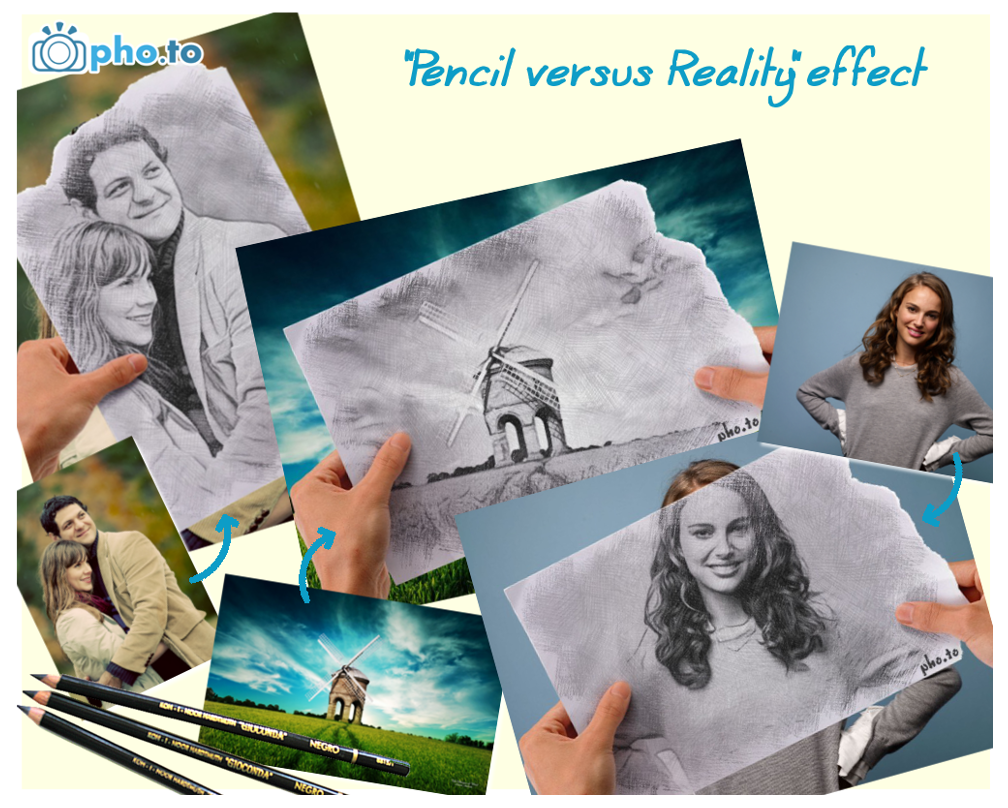 Pencil vs Reality effect at Funny.Pho.to
