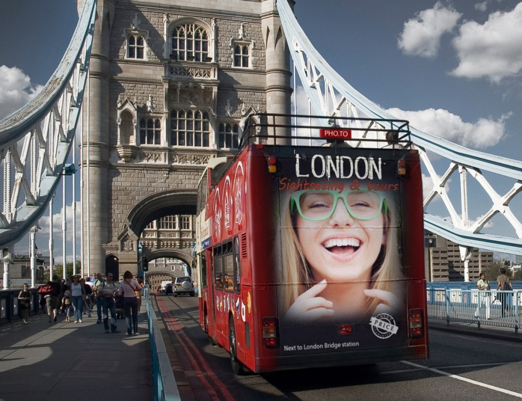 Travel photo frame with London bridge and a city bus