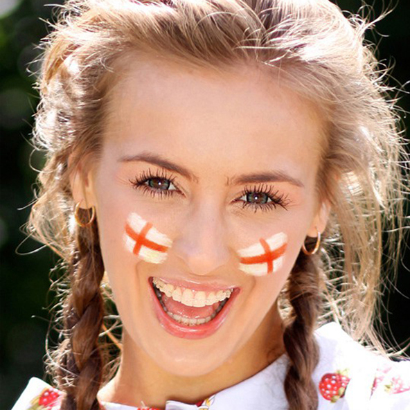 Add virtual face paint with a flag of England to your photos