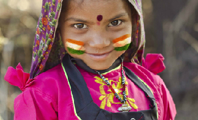 Virtual face paint with flag of India