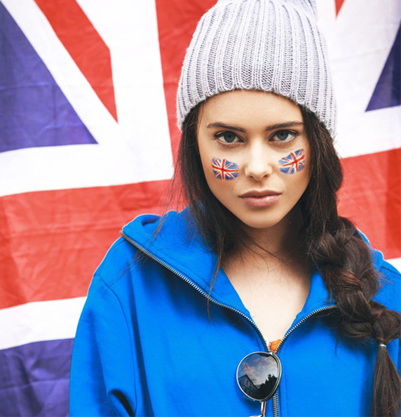 Virtual face paint with the flag of UK for all patriots of United Kingdom