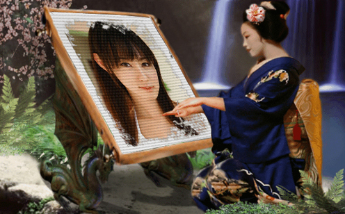 Geisha photo frame in Japanese style