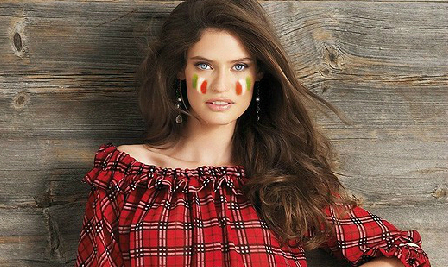 Virtual face paint with flag of Italy