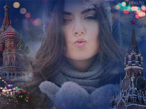 Change photo background with scenes of Moscow city