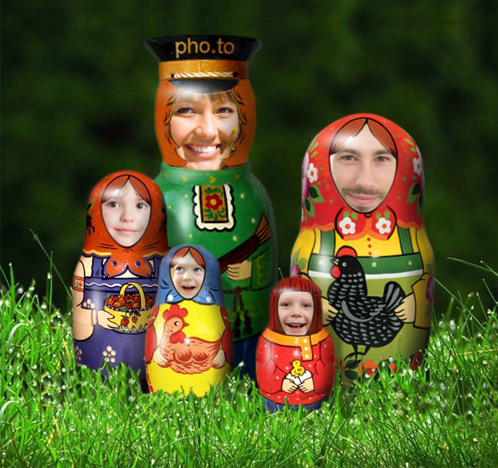 Nesting dolls face photo montage
