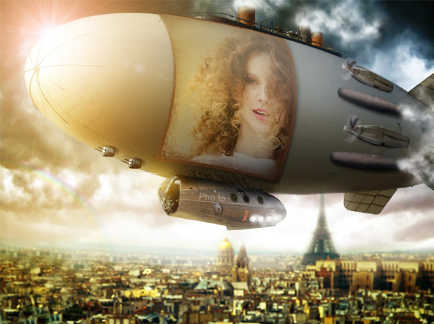 Paris airship photo montage