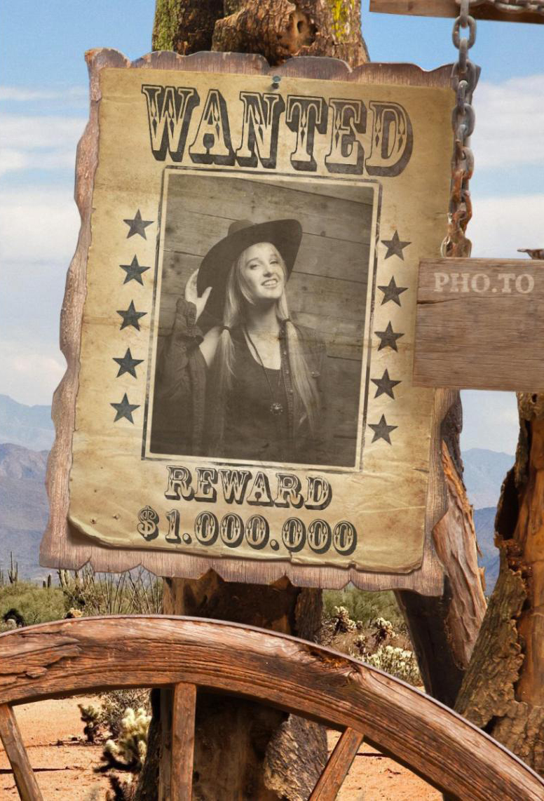 Free online picture frame that places your photo into the wanted poster